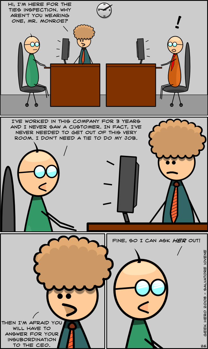 Geek Hero Comic – A webcomic for geeks: Tie inspection
