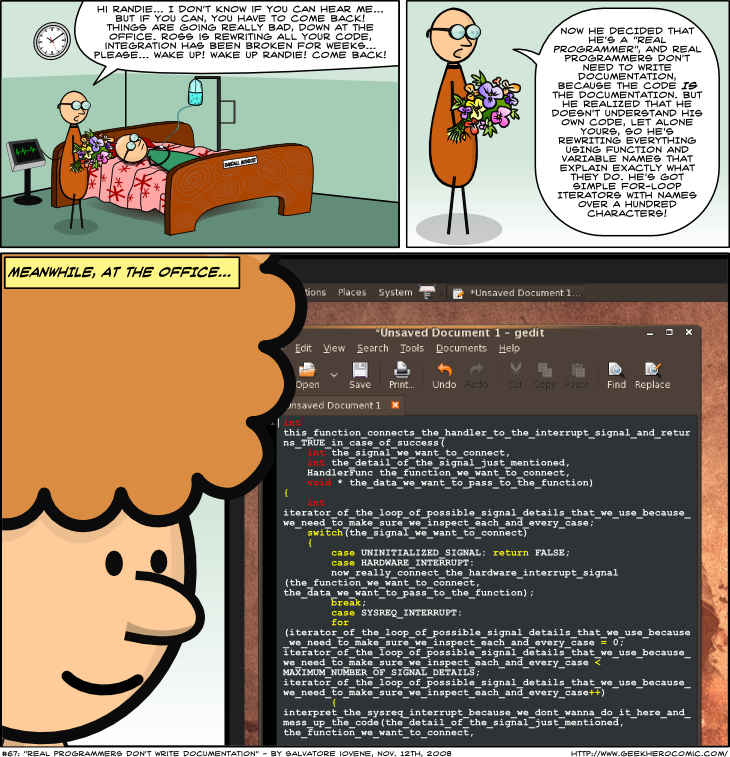 Geek Hero Comic – A webcomic for geeks: Real Programmers Don't Write Documentation