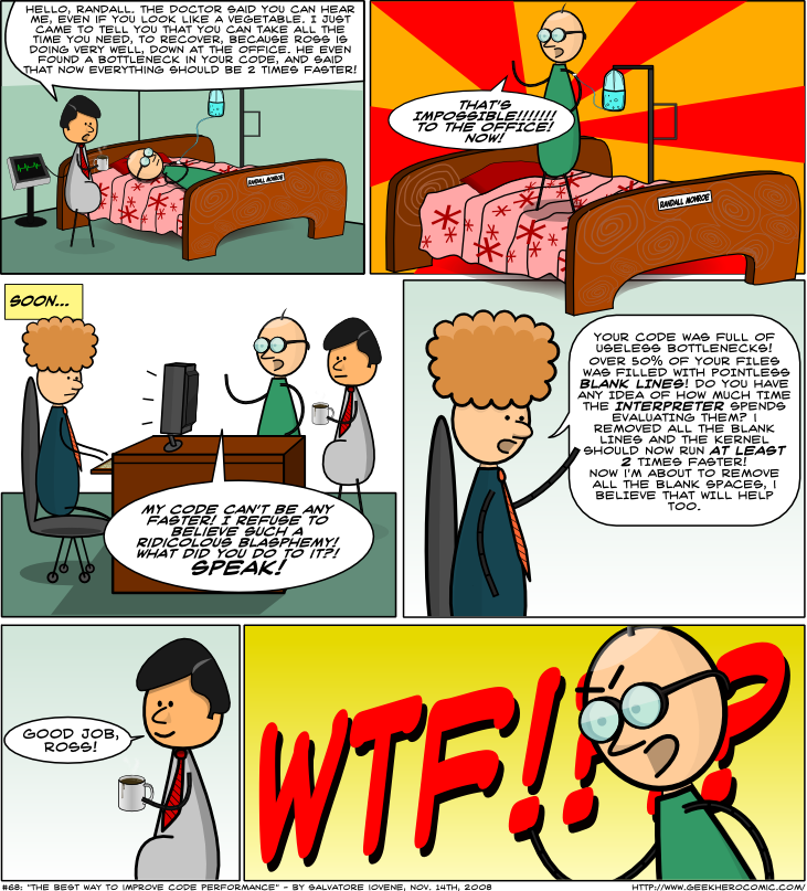Geek Hero Comic – A webcomic for geeks: The Best Way To Improve Code Performance
