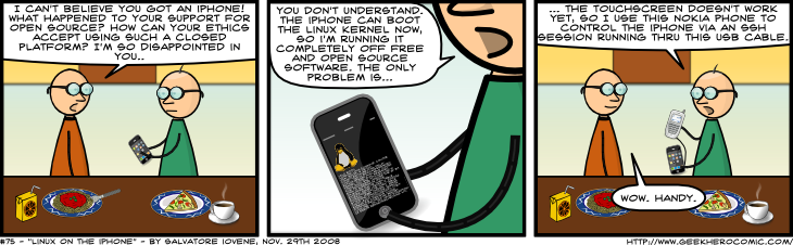 Geek Hero Comic – A webcomic for geeks: Linux On The iPhone