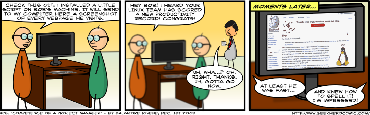 Geek Hero Comic – A webcomic for geeks: Competence Of A Project Manager