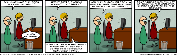 Geek Hero Comic – A webcomic for geeks: Coding overkill