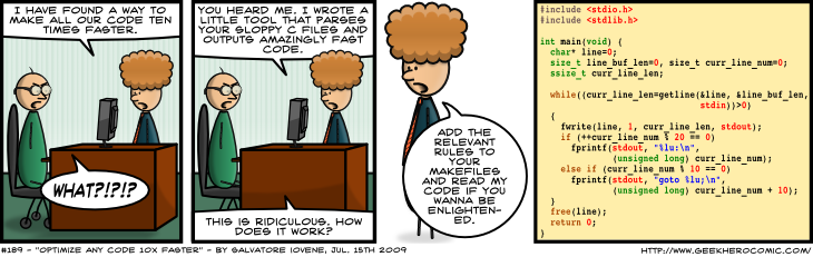 Geek Hero Comic – A webcomic for geeks: Optimize Any Code 10x Faster